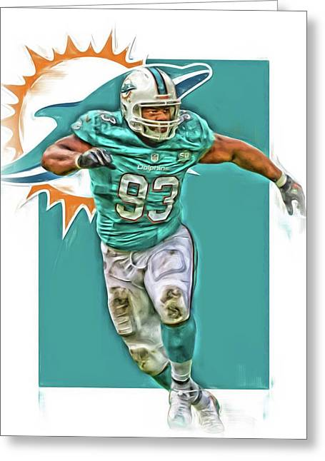 Ndamukong Suh Miami Dolphins Oil Art Greeting Card