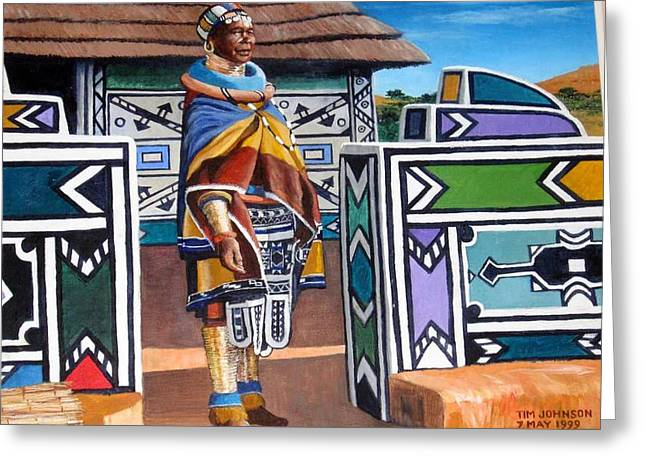 Greeting Card featuring the painting Ndebele Color by Tim Johnson