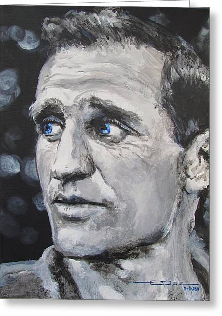 Greeting Card featuring the painting Neal Cassady - On The Road by Eric Dee