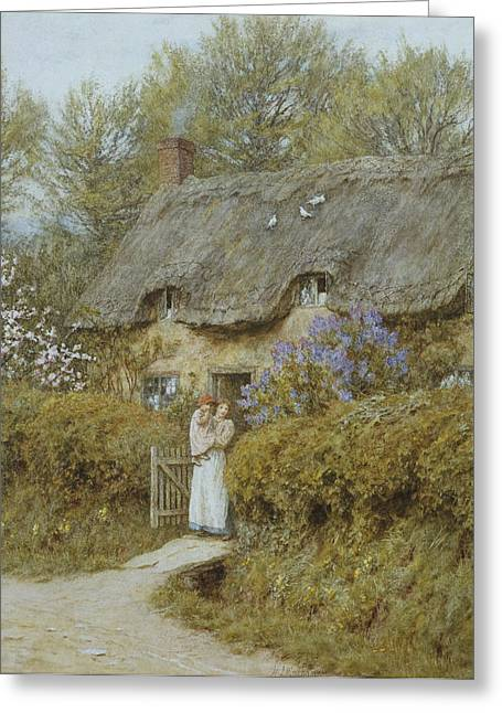 19th Century Architecture Greeting Cards - Near Freshwater Isle of Wight Greeting Card by Helen Allingham
