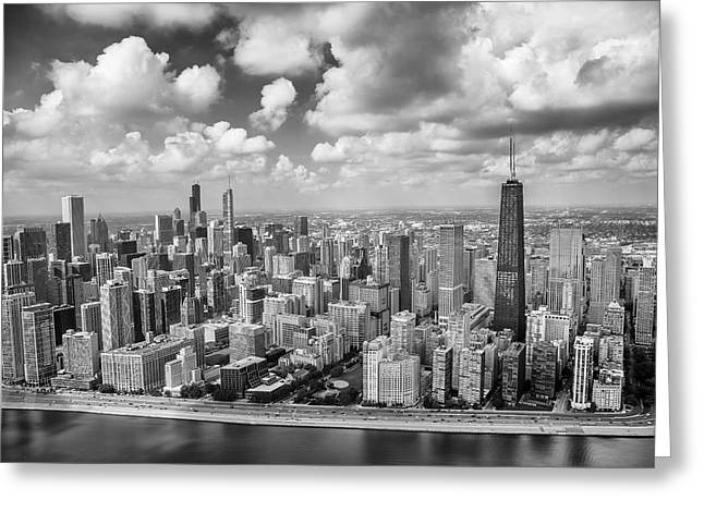 Near North Side And Gold Coast Black And White Greeting Card by Adam Romanowicz