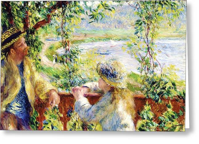 Renoir Greeting Cards - Near the Lake Greeting Card by Pg Reproductions