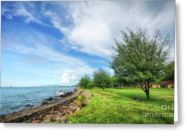Greeting Card featuring the photograph Near The Shore by Charuhas Images