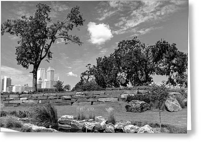 Near The Tulsa Skyline In Black And White Greeting Card