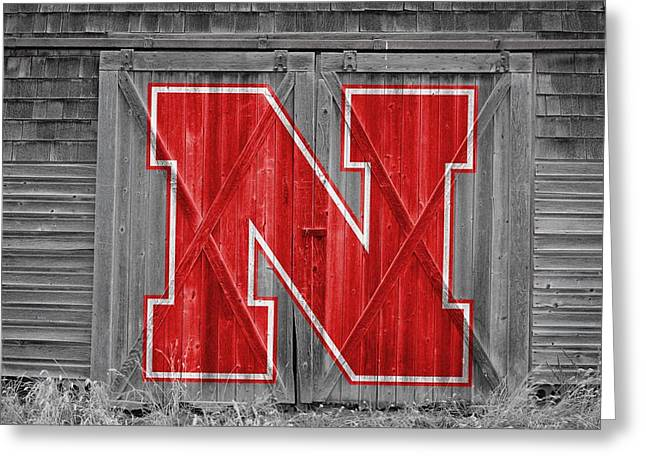 Nebraska Cornhuskers Barn Doors Greeting Card by Joe Hamilton