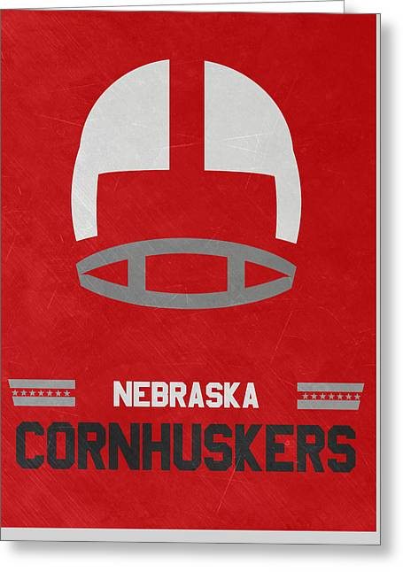 Nebraska Cornhuskers Vintage Art Greeting Card by Joe Hamilton