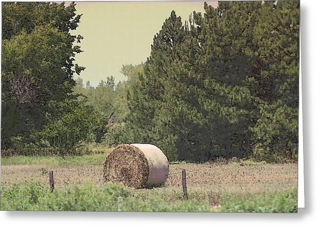 Nebraska Farm Life - Hay Bail Greeting Card