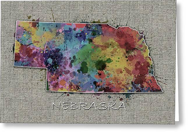 Nebraska Map Color Splatter 5 Greeting Card