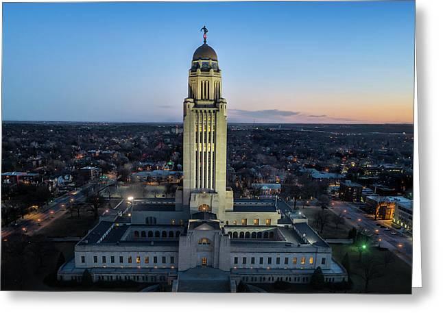 Nebraska State Capitol At Sunset Greeting Card