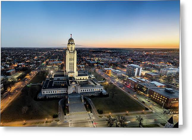 Nebraska State Capitol Sunset - Wide Angle Greeting Card