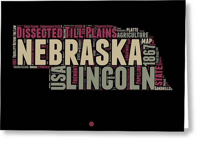 Nebraska Word Cloud 1 Greeting Card by Naxart Studio
