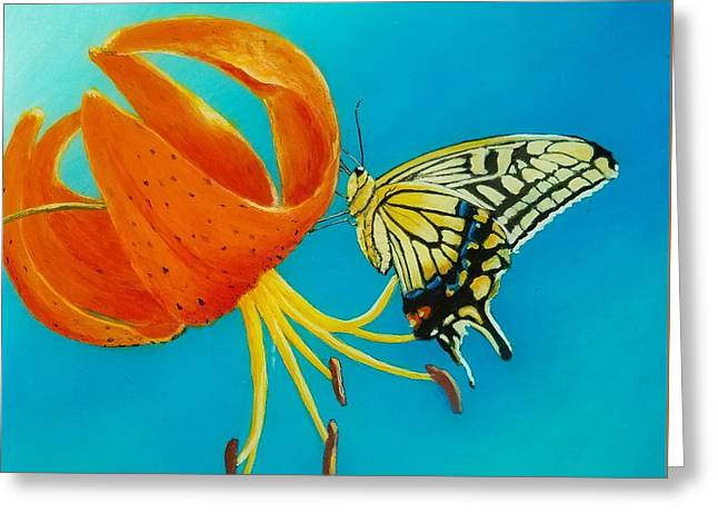 Greeting Card featuring the painting Nectar  by Christie Minalga