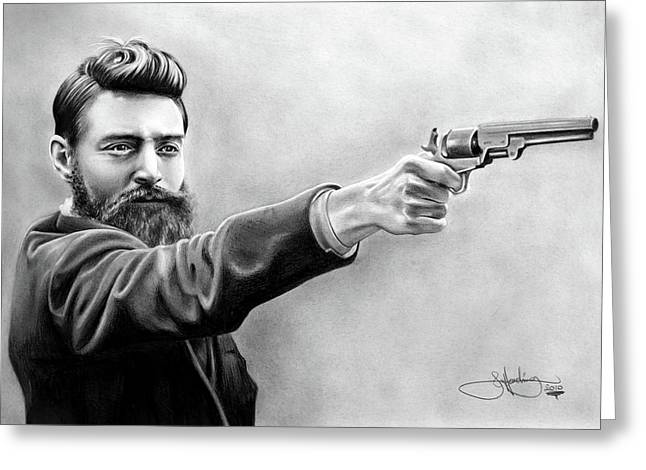 Ned Kelly Drawing Greeting Card by John Harding