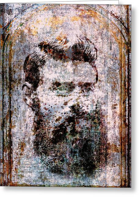 Ned Kelly Portrait Greeting Card by Daniel Hagerman
