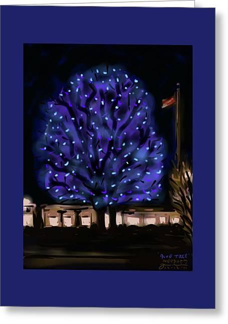 Needham's Blue Tree Greeting Card by Jean Pacheco Ravinski