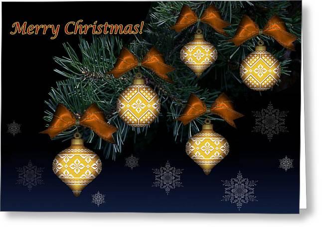 Needlework Christmas Ornaments II Greeting Card by Stoyanka Ivanova