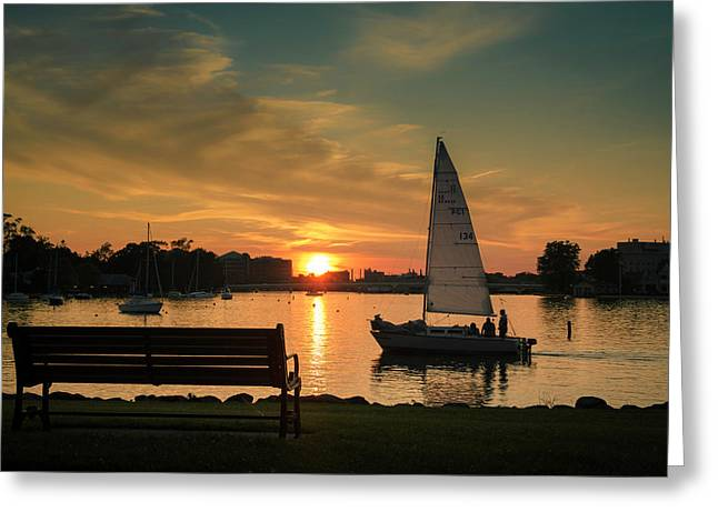 Greeting Card featuring the photograph Neenah Harbor Sunset by Joel Witmeyer