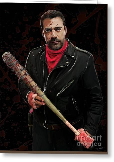 Negan With Blood Greeting Card by Paul Tagliamonte