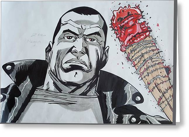 Negan Is Here Greeting Card by Oscar Rodriguez III