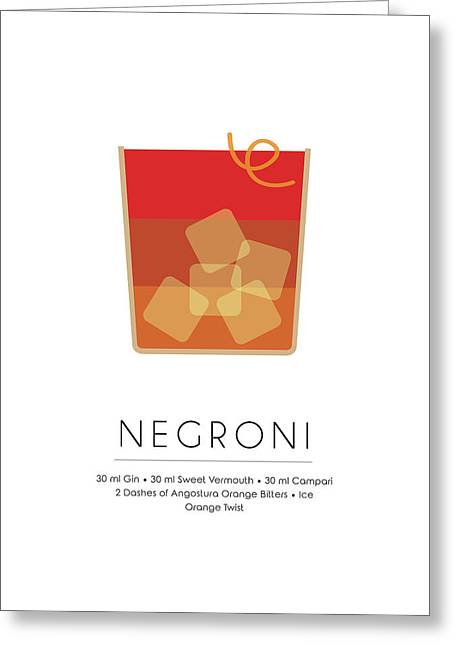 Negroni Classic Cocktail - Minimalist Print Greeting Card
