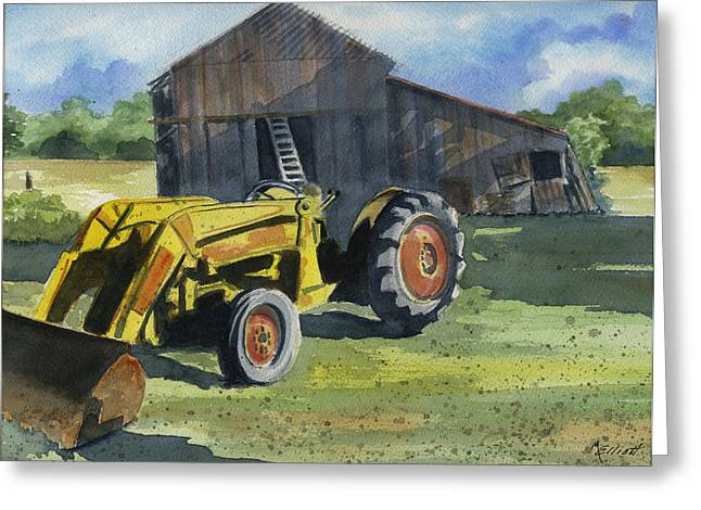 Neighbor Dons Tractor Greeting Card by Marsha Elliott