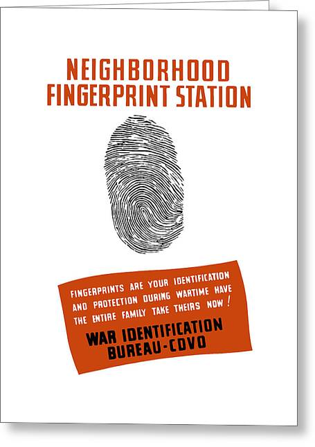 Works Progress Administration Greeting Cards - Neighborhood Fingerprint Station Greeting Card by War Is Hell Store