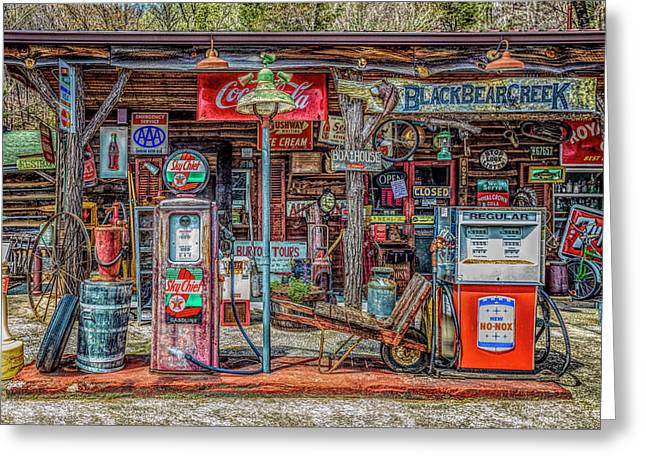 Neighborhood Grocery And Gas In Hdr Detail Greeting Card