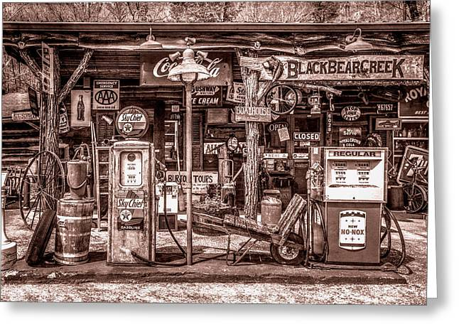 Neighborhood Grocery And Gas In Sepia Tones Greeting Card