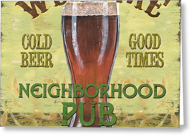 Neighborhood Pub Greeting Card by Debbie DeWitt