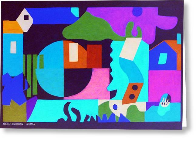 Neighborhood Stroll Greeting Card by Stephen Davis