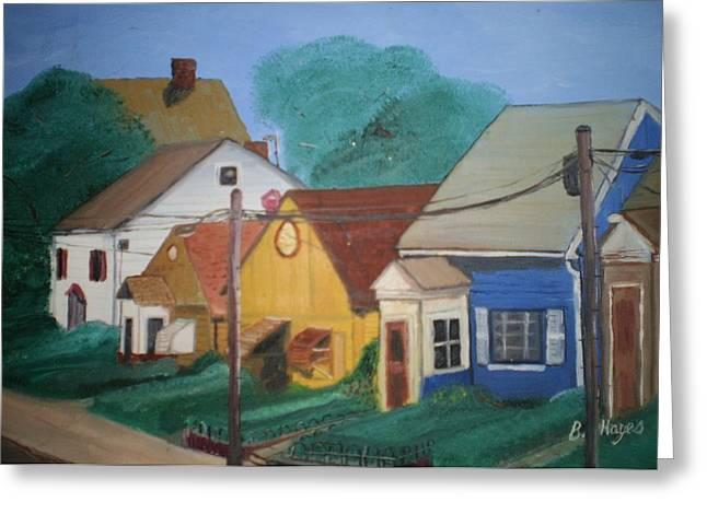 Greeting Card featuring the painting Neighbors by Barbara Hayes