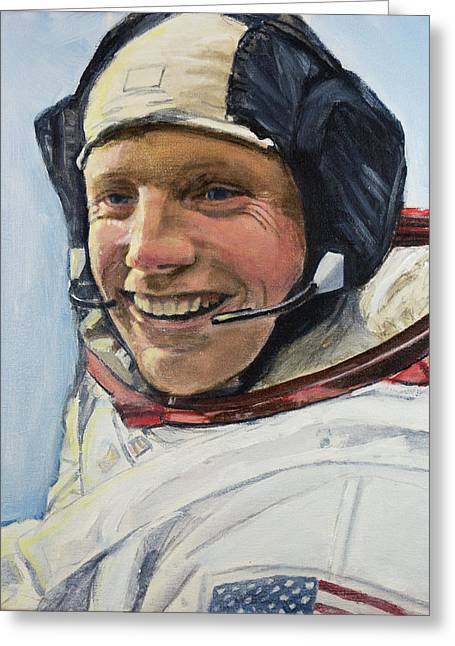 Neil Armstrong Greeting Card by Simon Kregar
