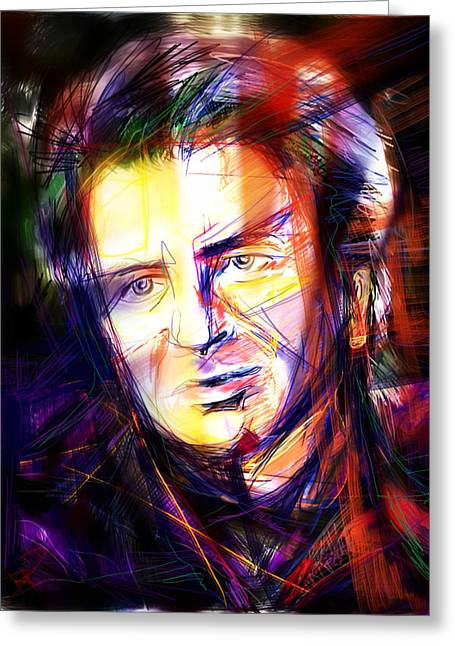 Crowd Mixed Media Greeting Cards - Neil Finn Greeting Card by Russell Pierce