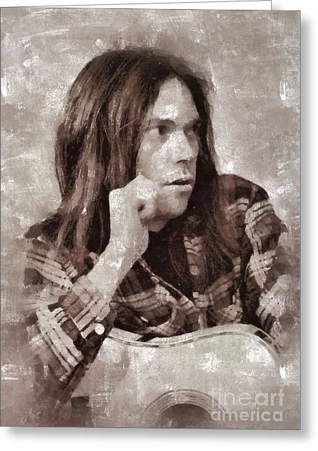Neil Young By Mary Bassett Greeting Card