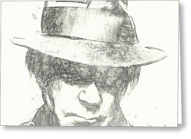 Neil Young Charcoal Sketch Greeting Card