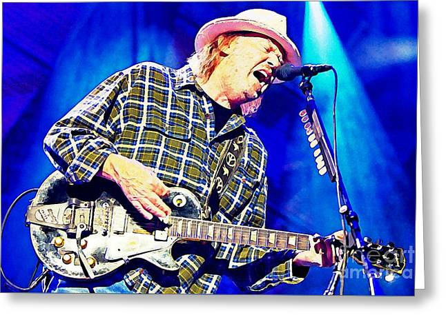 Neil Young In Concert Greeting Card by John Malone