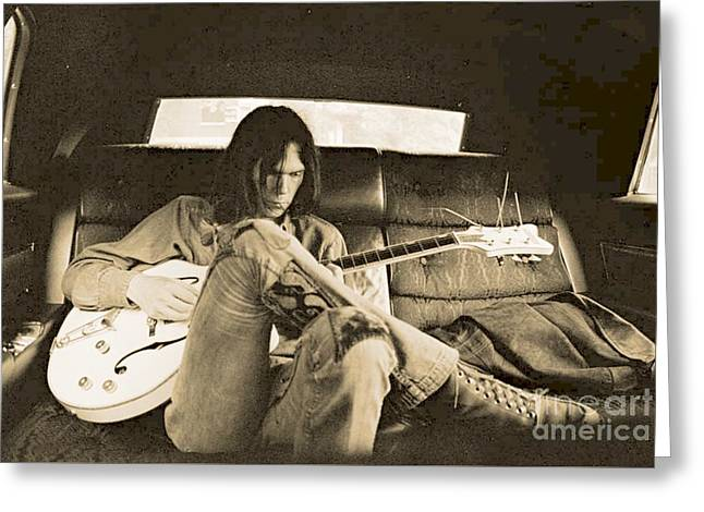 Neil Young In The Backseat Greeting Card