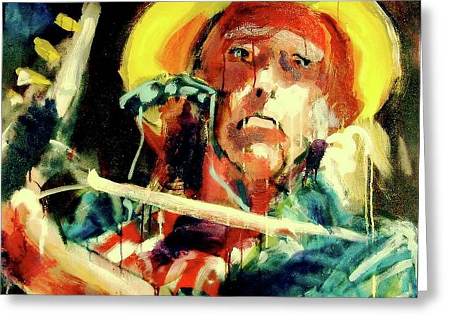 Greeting Card featuring the painting Neil Young by Les Leffingwell