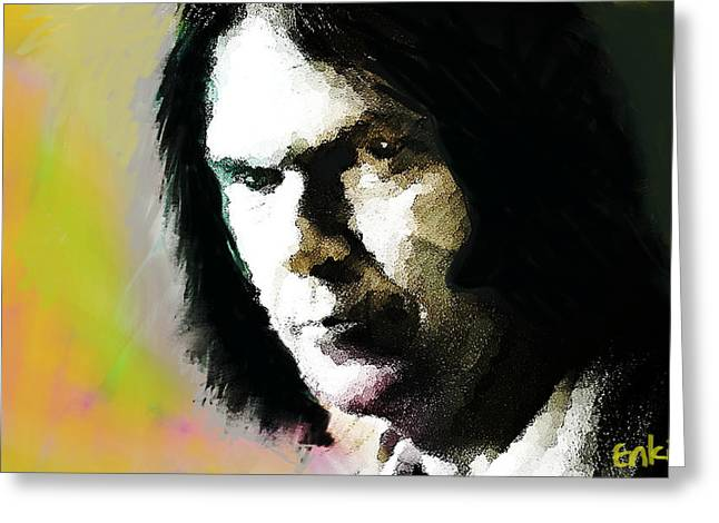 Neil Young Portrait  Greeting Card by Enki Art