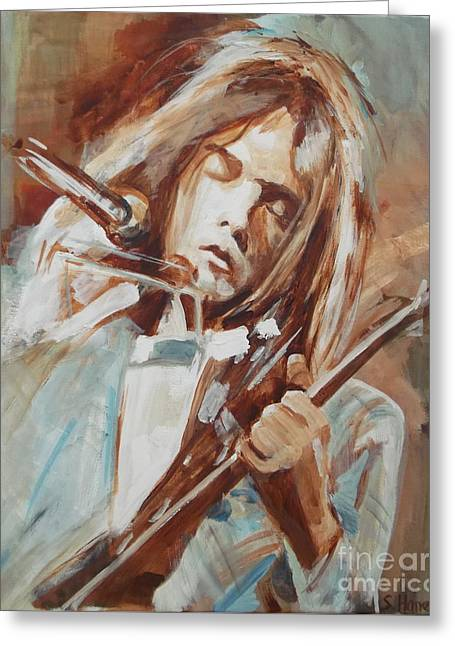 Neil Young Greeting Card by Sandra Haney