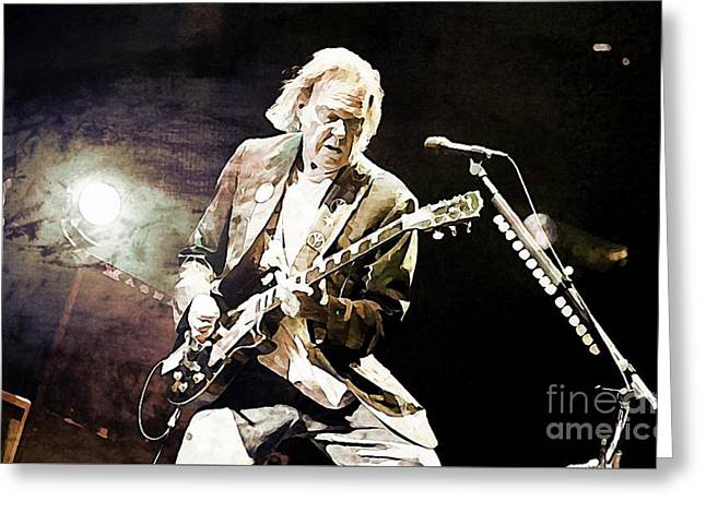 Neil Young Sepia And Textures Greeting Card by John Malone