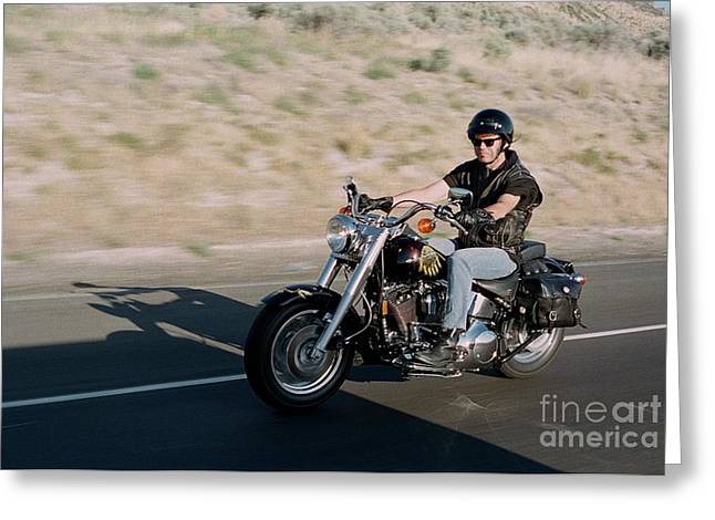 Neil Young Some Where On A Desert Highway Greeting Card by David J Warrington