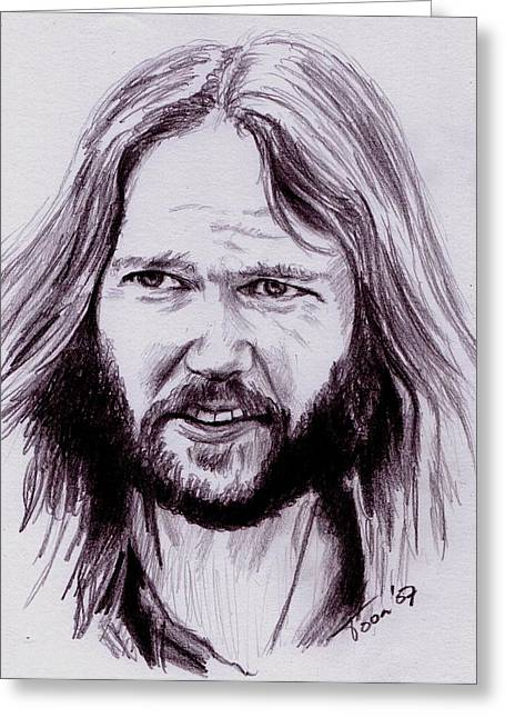 Neil Young Greeting Card by Toon De Zwart