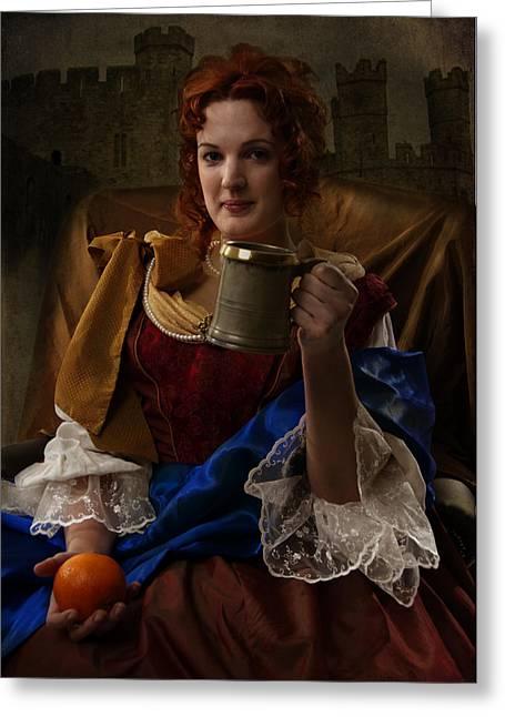 Nell Enjoying A Pint Greeting Card by Doug Matthews