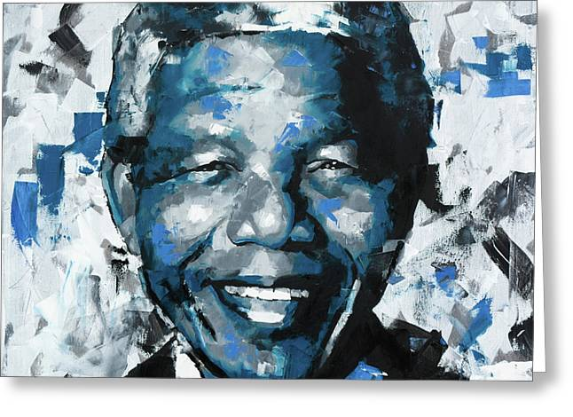 Greeting Card featuring the painting Nelson Mandela II by Richard Day