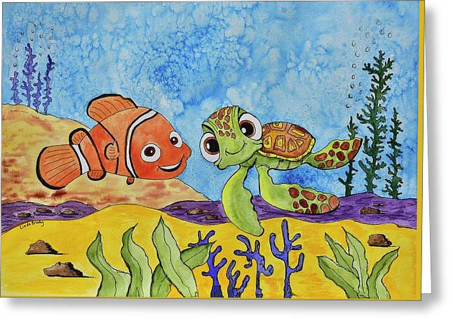 Nemo And Squirt Greeting Card by Linda Brody