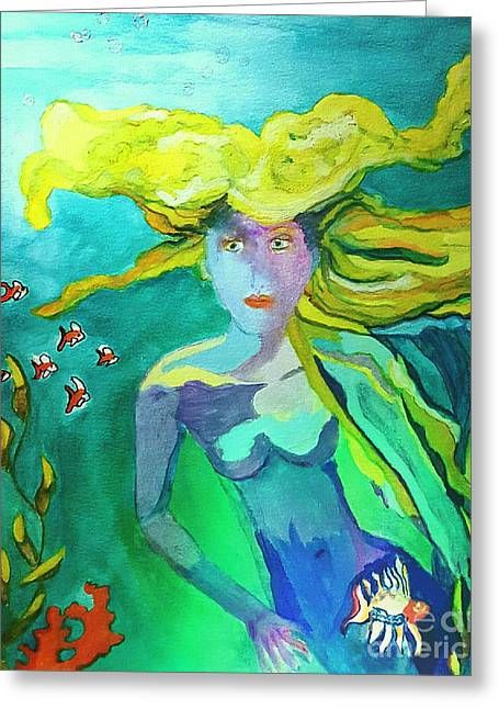 Neo Mermaid 1 Greeting Card by ARTography by Pamela Smale Williams