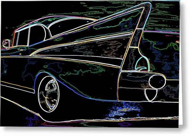 Neon 57 Chevy Bel Air Greeting Card