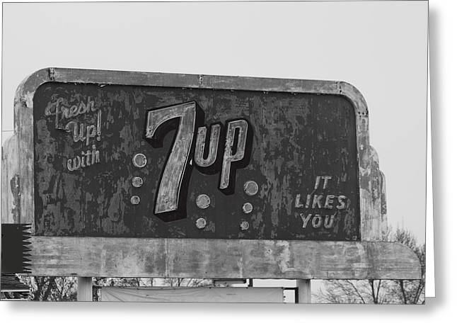 Neon 7up Sign Merced Ca Greeting Card
