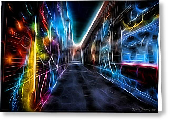 Greeting Card featuring the photograph Neon Aleey by Michaela Preston